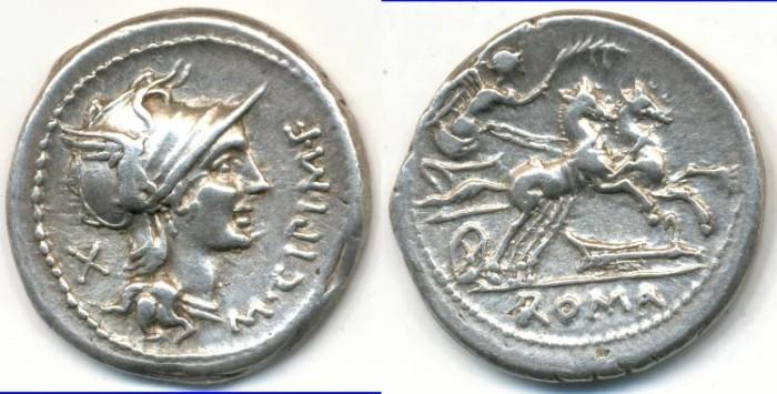 Ancient Coins - ROMAN REPUBLIC - M. Cipius, M.F., AR Denarius, (c.115-114 B.C.), Rome mint, (18mm, 3.92 g) - Cr.289/1