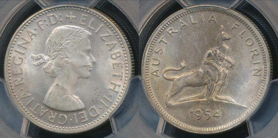 World Coins - Australia, 1954 Florin, 2/-, Elizabeth II (Royal Visit)(Silver)- PCGS MS63 (Ch-Unc)