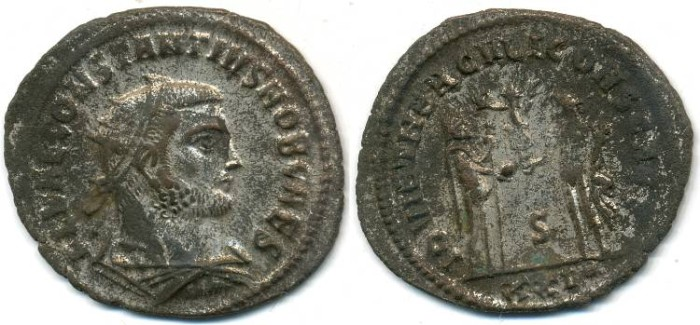 Ancient Coins - CONSTANTIUS I, as Caesar, AE-Antoninianus, AD 293-305, Antioch mint, (24mm, 3.20 gm) - RIC V Part II 673