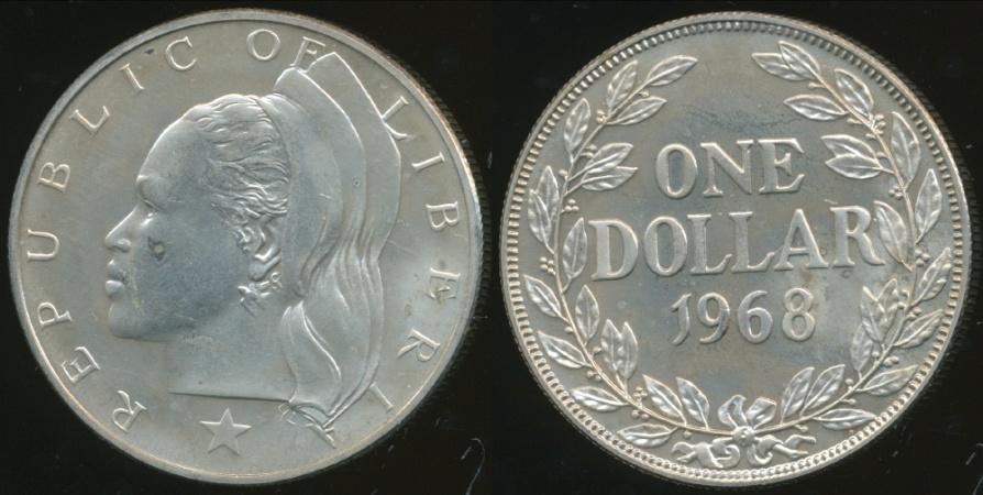 Liberia Republic 1968 One Dollar