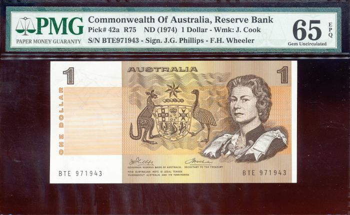 World Coins - Australia - $1 Phillips-Wheeler, (1974) R75 - PMG 65EPQ