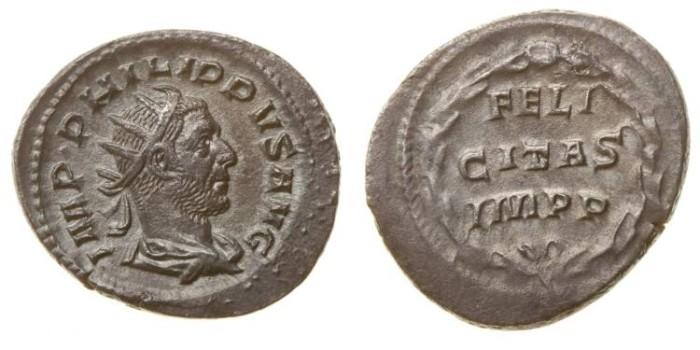 Ancient Coins - PHILIP I, AR Antoninianus, AD 244-249, Rome mint, (25mm, 3.95 gm) - RIC 60