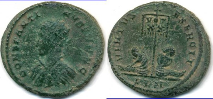 Ancient Coins - CONSTANTINE II, AE follis, AD 317-340, London mint, (20mm, 2.63 g), Struck AD 320-321 - RIC VII 198