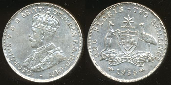 World Coins - Australia, 1936 Florin, George V - Unc