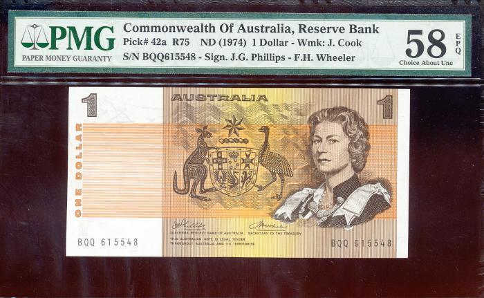 World Coins - Australia - $1 Phillips-Wheeler, (1974) R75 - PMG 58EPQ