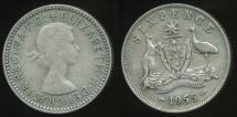 World Coins - Australia, 1955 Sixpence, 6d, Elizabeth II (Silver) - Fine