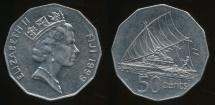 Fiji, Republic, 1999 50 Cents, Elizabeth II - Extra Fine