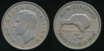 World Coins - New Zealand, 1948 Florin, 2/-, George VI - Fine