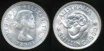 World Coins - Australia, 1962 One Shilling, 1/-, Elizabeth II (Silver) - Choice Uncirculated