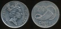 Fiji, Republic, 1990 20 Cents, Elizabeth II - Extra Fine