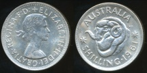 World Coins - Australia, 1961 One Shilling, Elizabeth II (Silver) - almost Uncirculated/Uncirculated