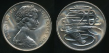 World Coins - Australia, 1972(c) Twenty Cents, 20c, Elizabeth II - Choice Uncirculated