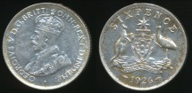 World Coins - Australia, 1926 Sixpence, 6d, George V (Silver) - Extra Fine