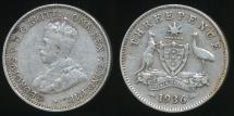 World Coins - Australia, 1936 Threepence, 3d, George V (Silver) - Fine