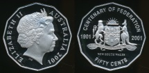World Coins - Australia, 2001 Fifty Cents, 50c, Elizabeth II (Centenary of Federation - New South Wales) - Proof