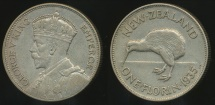 World Coins - New Zealand, 1935 Florin, George V (Silver) - almost Extra Fine