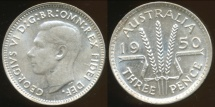 World Coins - Australia, 1950 Threepence, George VI (Silver) - Choice Uncirculated