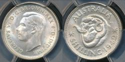 World Coins - Australia, 1942(m) One Shilling, 1/-, George VI (Silver) - PCGS MS63 (Ch-Unc)