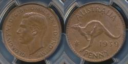World Coins - Australia, 1939(m) One Penny, 1d, George VI - PCGS MS63BN (Ch-Unc)