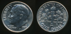 World Coins - United States, 1995-D Dime, Roosevelt - Uncirculated