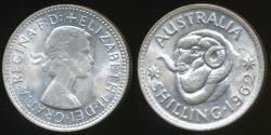 World Coins - Australia, 1962 One Shilling, 1/-, Elizabeth II (Silver) - Uncirculated