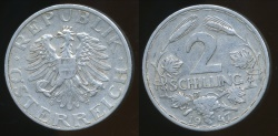 World Coins - Austria, Republic, 1947 2 Schilling - Very Fine