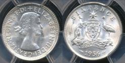 World Coins - Australia, 1956(m) Sixpence, 6d, Elizabeth II (Silver) - PCGS MS63 (Ch-Unc)