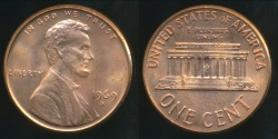 World Coins - United States, 1969-D One Cent, Lincoln Memorial - Uncirculated