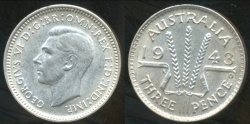 World Coins - Australia, 1943(d) Threepence, George VI (Silver) - almost Uncirculated