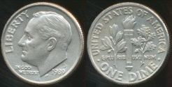 World Coins - United States, 1989-D Dime, Roosevelt - Choice Uncirculated