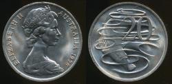 World Coins - Australia, 1975 Twenty Cents, 20c, Elizabeth II - Uncirculated