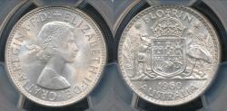 World Coins - Australia, 1960(m) Florin, 2/-, Elizabeth II (Silver) - PCGS MS65 (Gem-Unc)