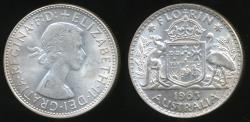World Coins - Australia, 1963 Florin, 2/-, Elizabeth II (Silver) - Uncirculated