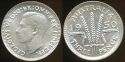 World Coins - Australia, 1950 Threepence, George VI (Silver) - Choice Uncirculated
