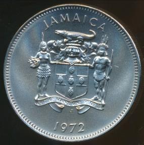 World Coins - Jamaica, Commonwealth, Elizabeth II, 1972FM (M) 20 Cents - Gem Uncircuated