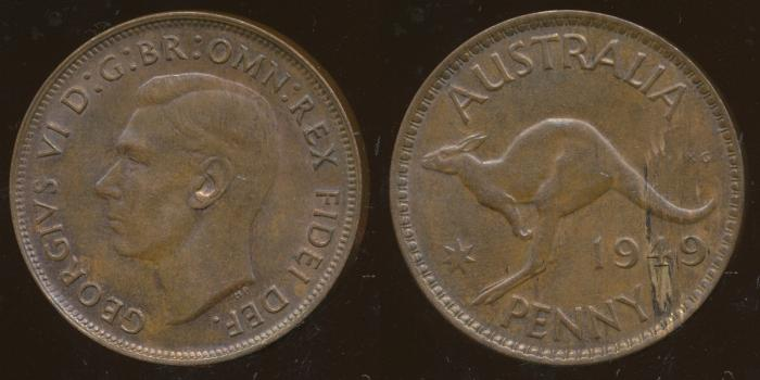 World Coins - AUSTRALIA - 1949, One Penny, George VI - aUnc