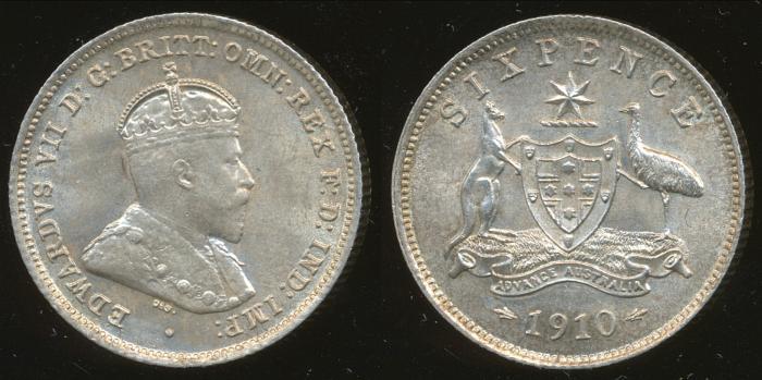 World Coins - AUSTRALIA - 1910 Sixpence, Edward VII - Ch-Unc
