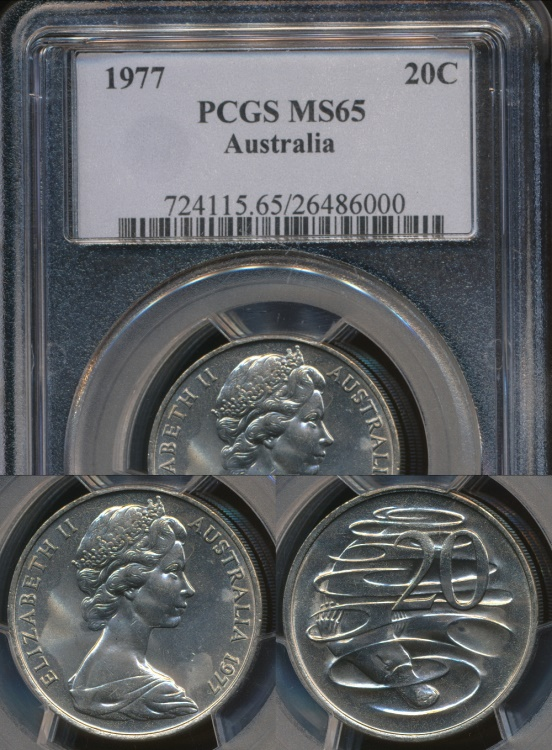 World Coins - Australia, 1977 Twenty Cents, 20c, Elizabeth II - PCGS MS65