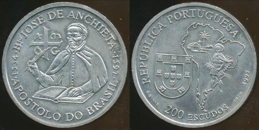 World Coins - Portugal, Republic, 1997 200 Escudos (Bto. Jose de Anchieta) - Uncirculated