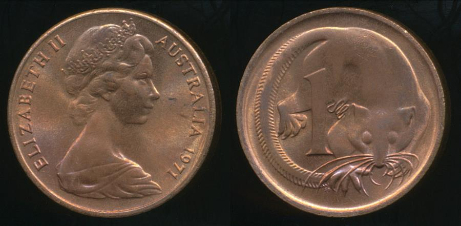 Australia 1971 One Cent 1c Elizabeth Ii Uncirculated Australian Amp Oceanian Coins