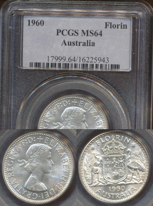 World Coins - AUSTRALIA - 1960 Florin - PCGS MS64