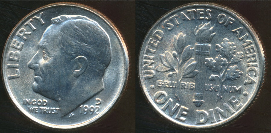 World Coins - United States, 1992-D Dime, Roosevelt - Choice Uncirculated