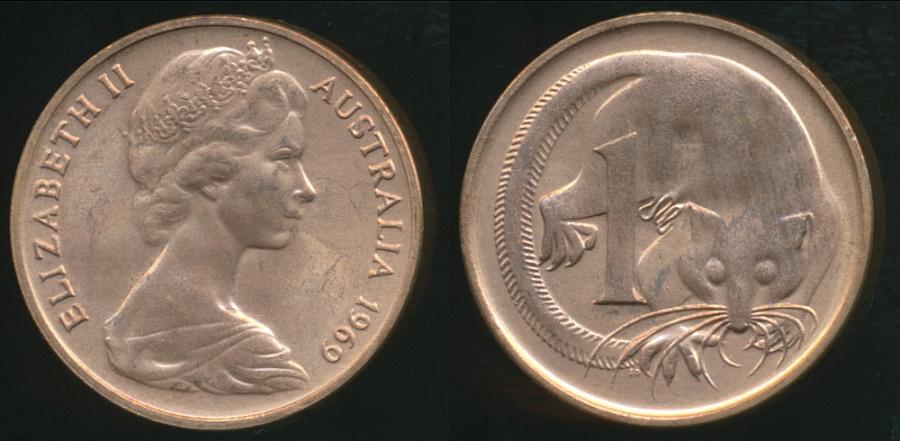 Australia 1969 1 Cent Elizabeth II