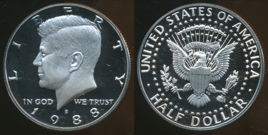 World Coins - United States, 1988-S Half Dollar, Kennedy - Proof
