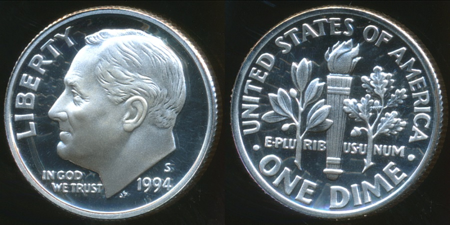 World Coins - United States, 1994-S Dime, Roosevelt (Silver) - Proof