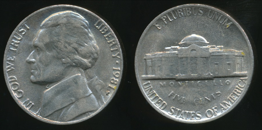 Jefferson (TX) United States  City new picture : World Coins United States, 1981 P 5 Cents, Jefferson Nickel ...