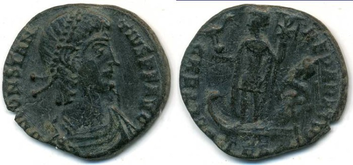 Ancient Coins - CONSTANTIUS II, AE-3, AD 337-361, Thessalonica mint, Struck 348-351 AD, (17mm, 2.16 gm) - RIC VIII 119