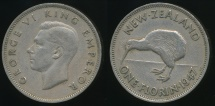 World Coins - New Zealand, 1947 Florin, 2/-, George VI - Very Fine