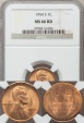 World Coins - United States, 1954-S One Cent, Lincoln Wheat - NGC MS66RD