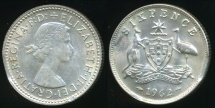 World Coins - Australia, 1962 Sixpence, 6d, Elizabeth II (Squeezed Edge)(Silver) - good Extra Fine